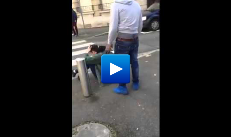 Watch: Muslim immigrant kicks down French man for no reason