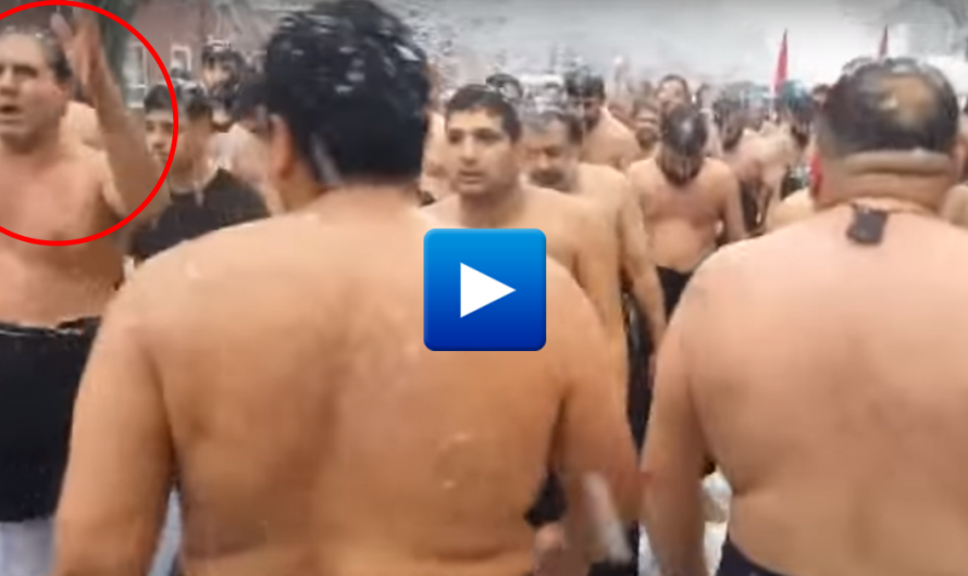 Naked Muslim Migrants beat themselves in the snow, north east England in Shiite holiday celebration