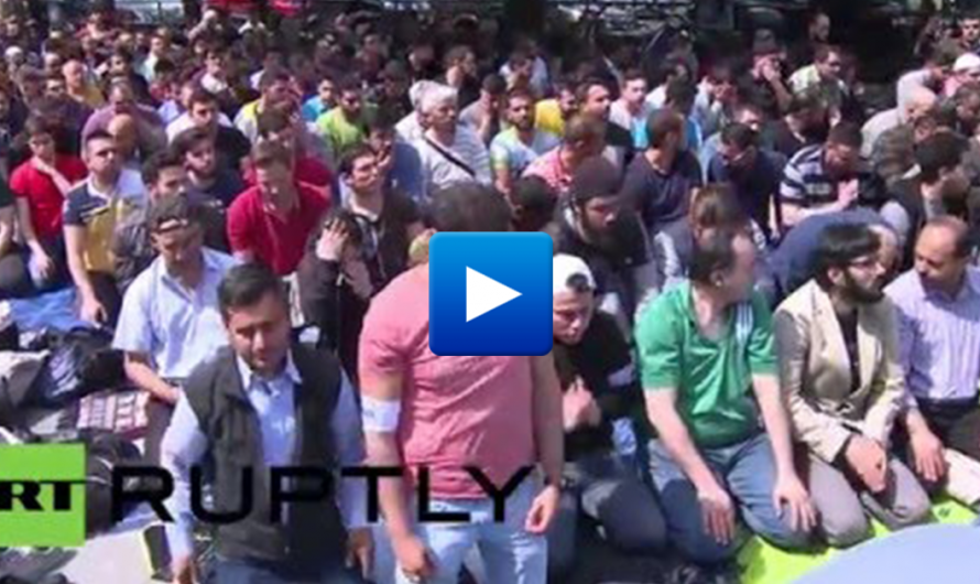 """Watch: Muslims protest over shutting of mosque at Berlin university in Germany """"Allahu Akbar"""""""