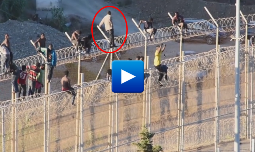 Moroccan Muslim migrants are hospitalised after becoming stuck while attempting to jump a six-metre fence into Spanish territory