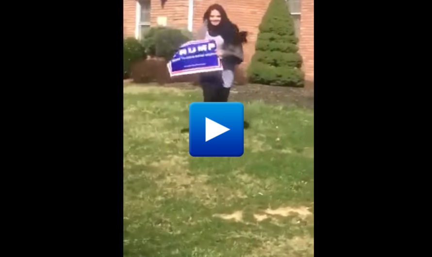 "Female Muslim refugee steals Trump sign while laughing ""in the name of Allah"""