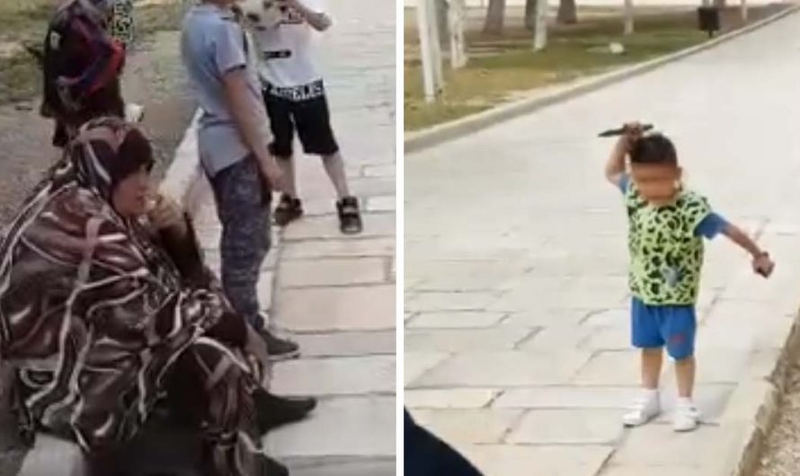 Watch: Muslim mom laughs as her son, 4, holding a knife threatens to stab Israeli cops on the Temple Mount
