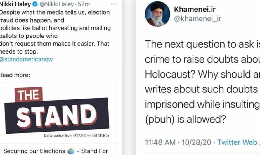 Twitter censors Nikki Haley while allowing Iran's rulers to threaten Jewish people with second Holocaust