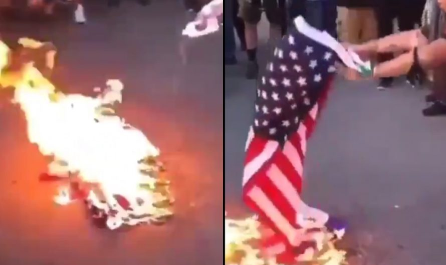 Offended by the American flag – Pro-Palestinians burn it in New York